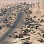 As Iraqi military personnel and their families fleed Kuwait they came under attack by coalition forces. The result was miles of destruction lining a major road in northern Kuwait. March 12, 1991 Kuwait