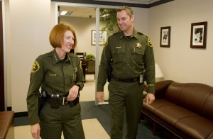 Sheriff Sandra Hutchens talks with her new executive aide, Lt. Don Barnes.         ADDITIONAL INFORMATION:   so.barnes.sg2.1129 Date shot: 11/23/2009    Photo by SAM GANGWER, THE ORANGE COUNTY REGISTER